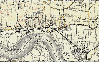 Old map of Grays in 1897-1898