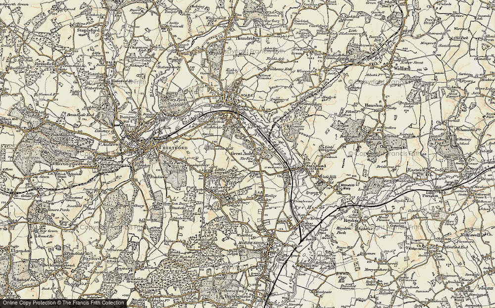Old Map of Great Amwell, 1898 in 1898