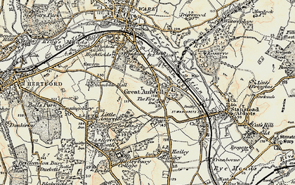 Old map of Great Amwell in 1898