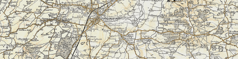 Old map of Great Baddow in 1898
