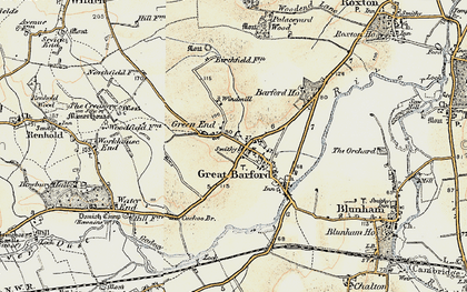Old map of Great Barford in 1898-1901