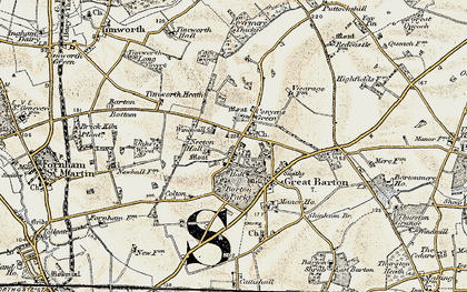Old map of Great Barton in 1901