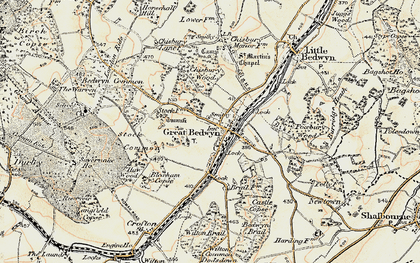 Old map of Great Bedwyn in 1897-1899