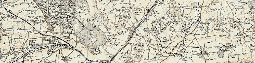 Old map of Great Bedwyn in 1897-1899