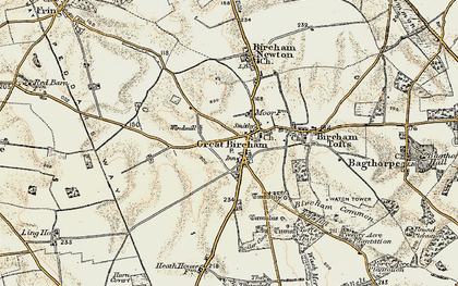 Old map of Great Bircham in 1901-1902