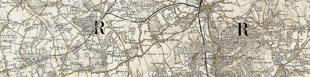Old map of Great Bookham in 1897-1909