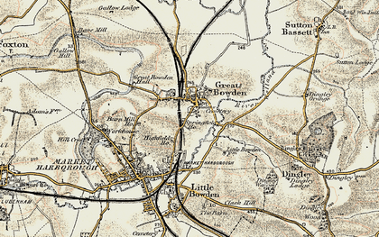 Old map of Great Bowden in 1901-1902