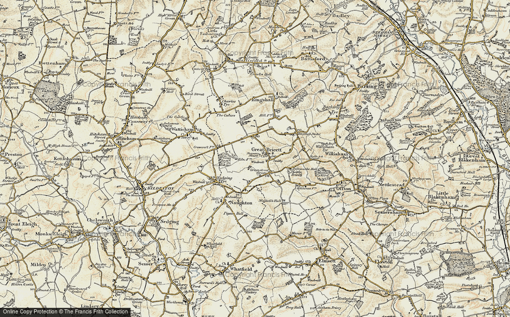 Old Map of Historic Map covering Tollemache Hall in 1899-1901