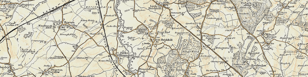Old map of Great Brickhill in 1898