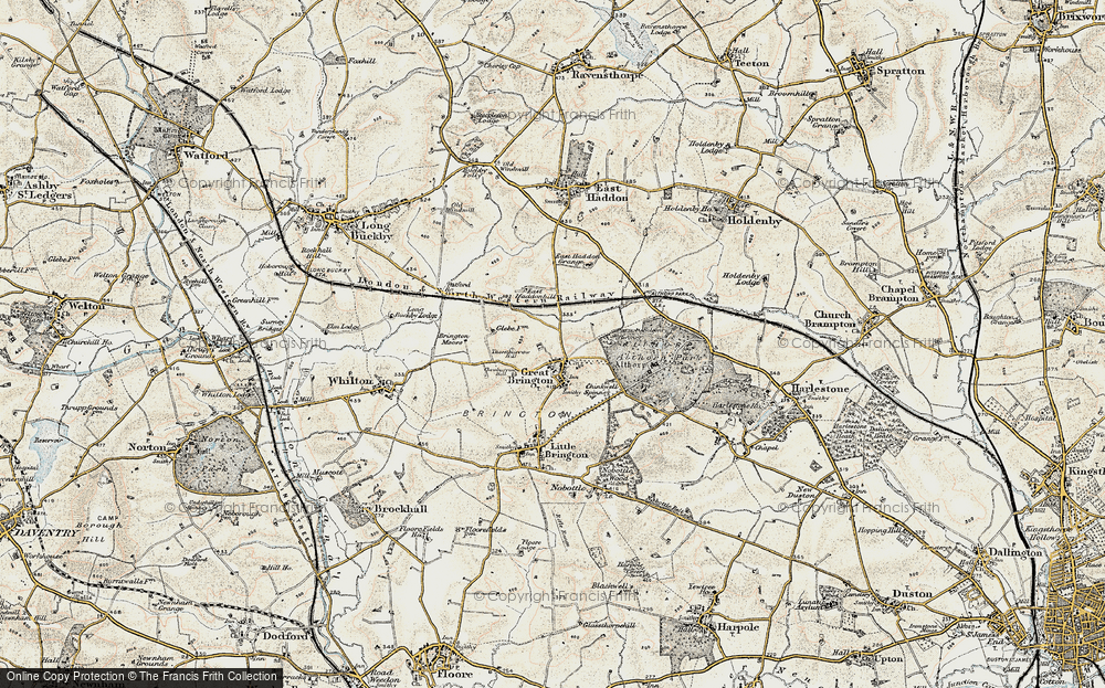 Old Map of Historic Map covering Althorp Park in 1898-1901