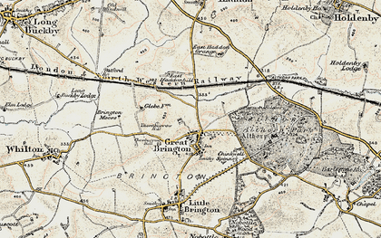 Old map of Great Brington in 1898-1901
