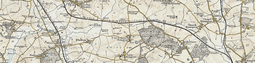 Old map of Althorp in 1898-1901