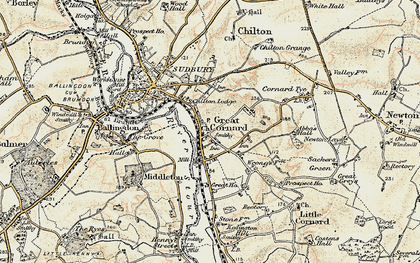 Old map of Great Cornard in 1898-1901