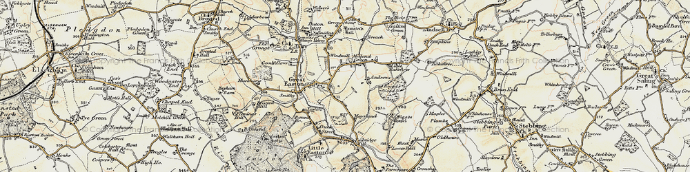 Old map of Great Easton in 1898-1899
