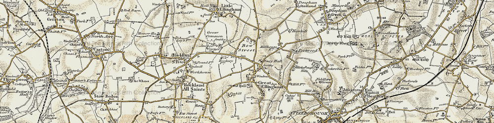 Old map of Great Ellingham in 1901-1902
