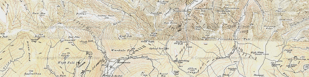 Old map of Aaron Crags in 1903-1904