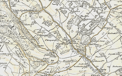 Old map of Great Gaddesden in 1898
