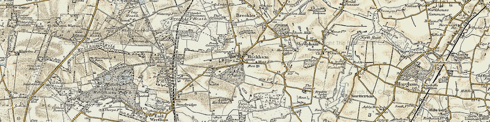 Old map of Great Hockham in 1901