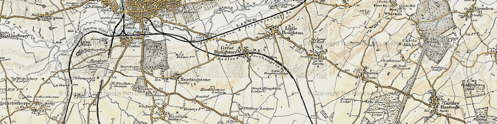 Old map of Great Houghton in 1898-1901