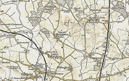 Old map of Great Houghton in 1903
