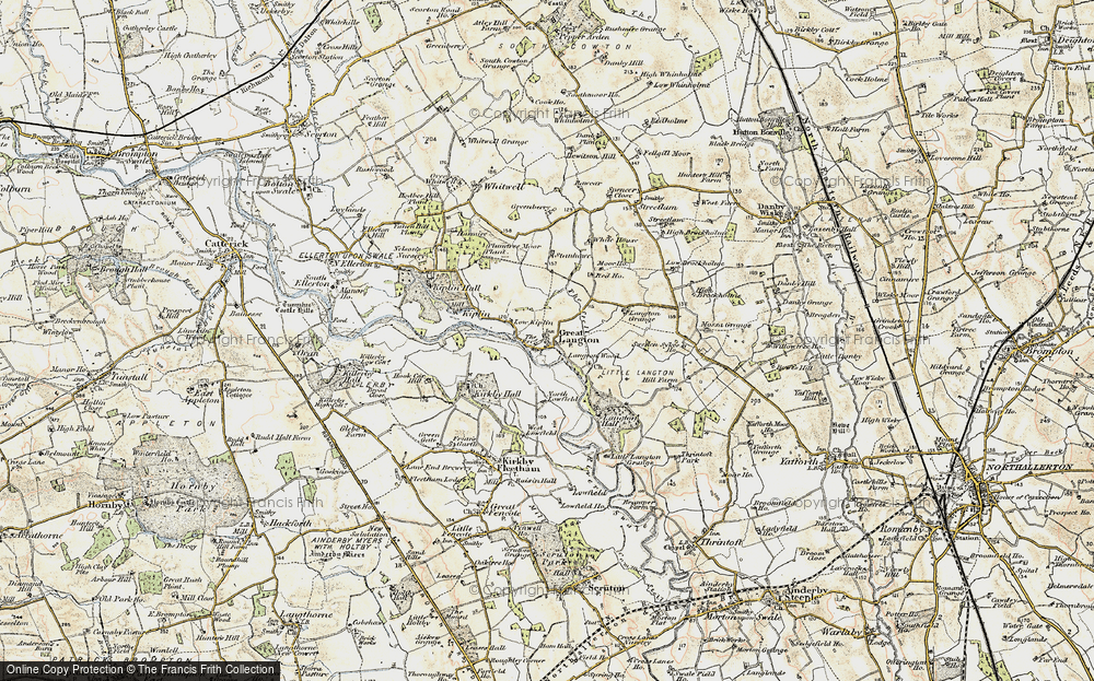 Old Map of Historic Map covering Langton Wood in 1903-1904