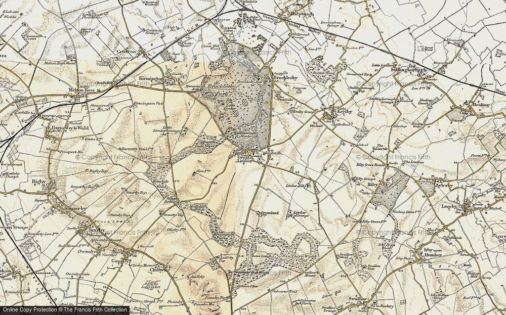 Old Map of Historic Map covering Limber Hill in 1903-1908