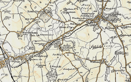 Old map of Great Linford in 1898-1901