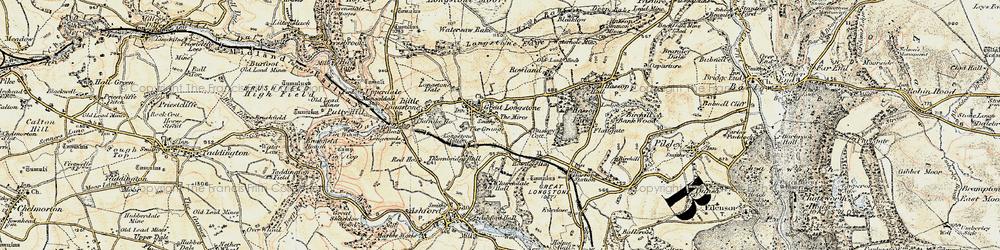 Old map of Great Longstone in 1902-1903