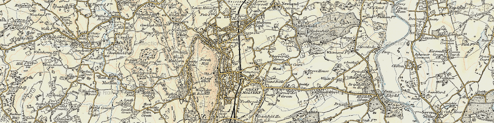 Old map of Great Malvern in 1899-1901