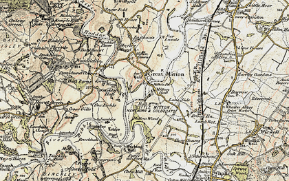 Old map of Great Mitton in 1903-1904