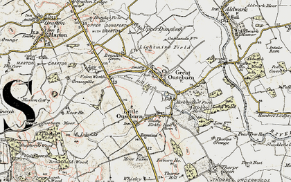 Old map of Great Ouseburn in 1903-1904