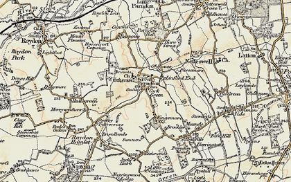 Old map of Great Parndon in 1898