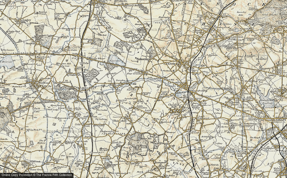 Old Map of Great Saredon, 1902 in 1902