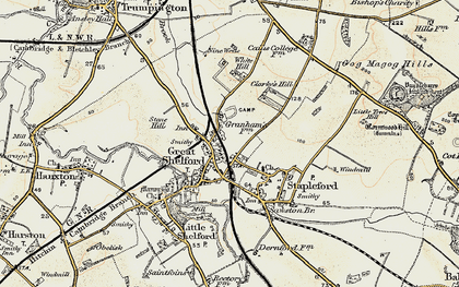 Old map of Great Shelford in 1899-1901