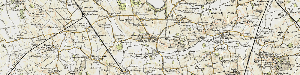 Old map of Great Smeaton in 1903-1904