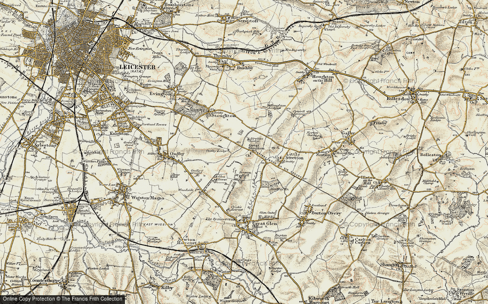 Old Map of Historic Map covering Leicester Airport in 1901-1903