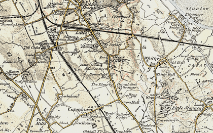 Old map of Great Sutton in 1902-1903