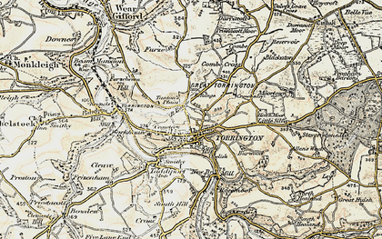 Old map of Great Torrington in 1900