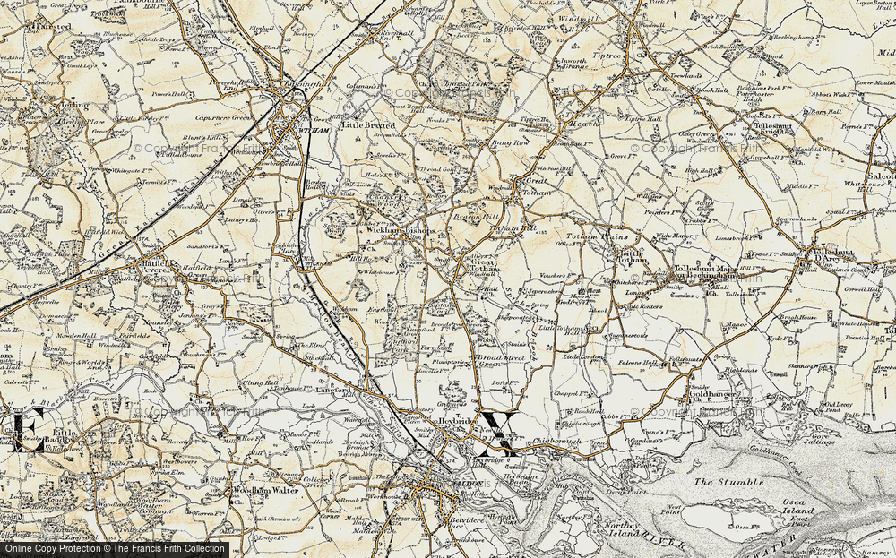 Old Map of Historic Map covering Langford Grove in 1898