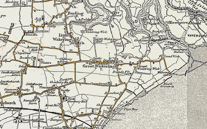 Old map of Great Wakering in 1898
