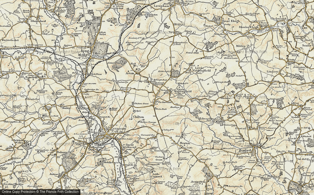 Old Map of Historic Map covering Babergh Hall in 1898-1901