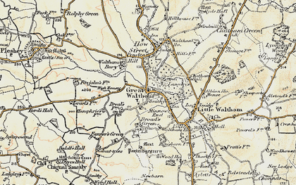 Old map of Great Waltham in 1898