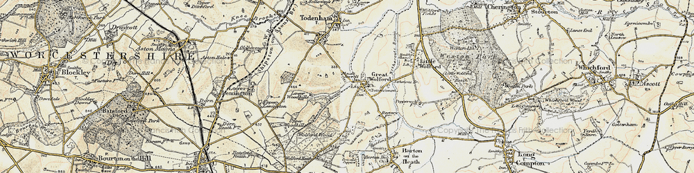 Old map of Wolford Wood in 1899-1901