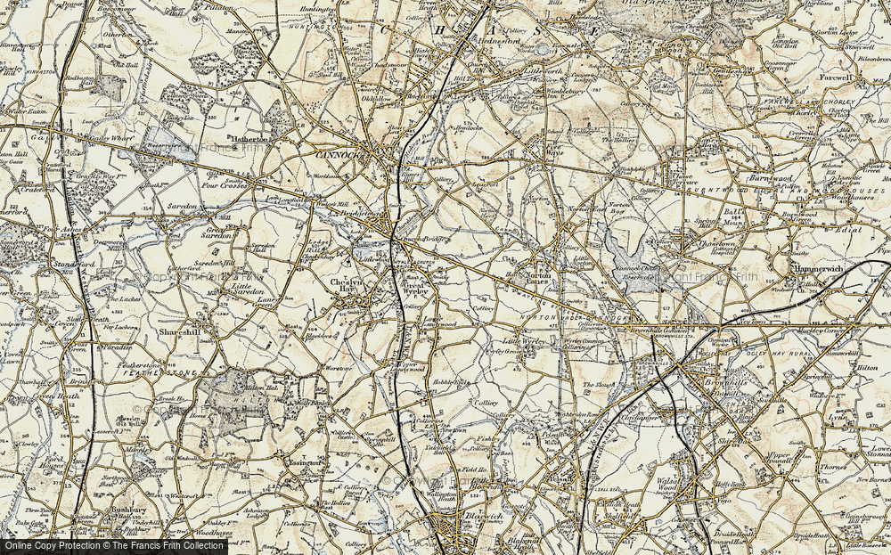 Old Map of Great Wyrley, 1902 in 1902