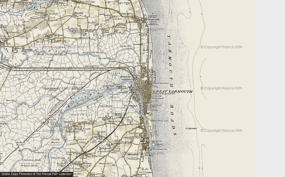 Old Map of Historic Map covering Yarmouth Roads in 1901-1902
