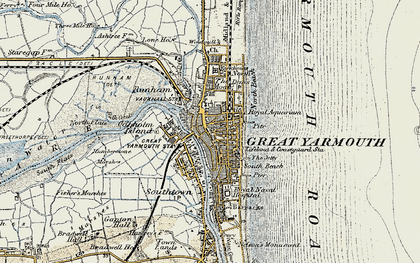 Old map of Yarmouth Roads in 1901-1902