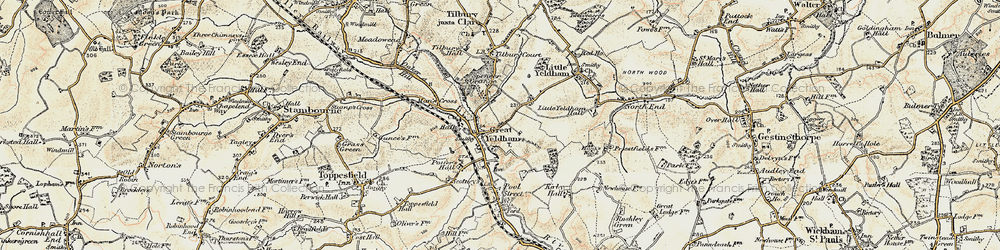 Old map of Great Yeldham in 1898-1901