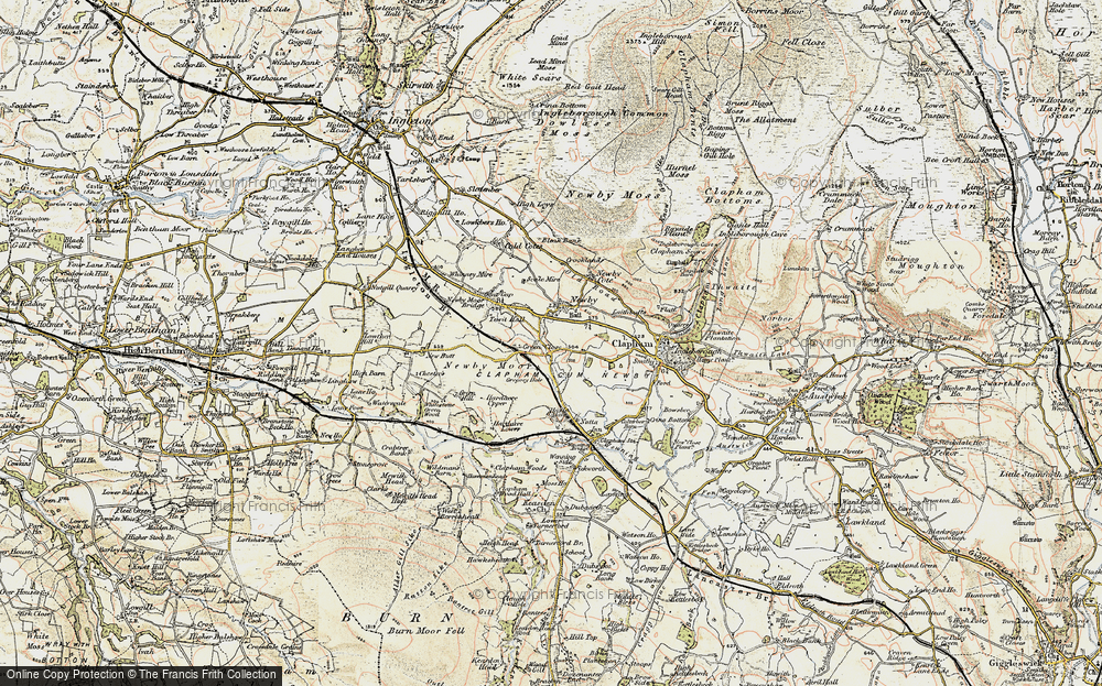 Old Map of Historic Map covering Newby Moor in 1903-1904