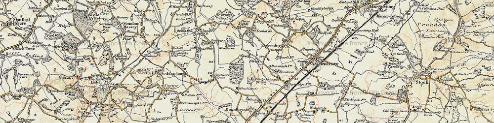 Old map of Woodlands Farmhouse in 1898