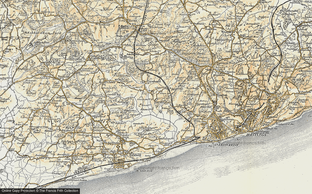 Old Map of Historic Map covering 1066 Country Walk Bexhill Link in 1898
